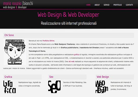 Mi chiamo Maria Rosaria sono una Web Designer Freelance, Progettazione grafica di logotipi, immagine coordinata sviluppo di siti web in e Joomla, WordPress